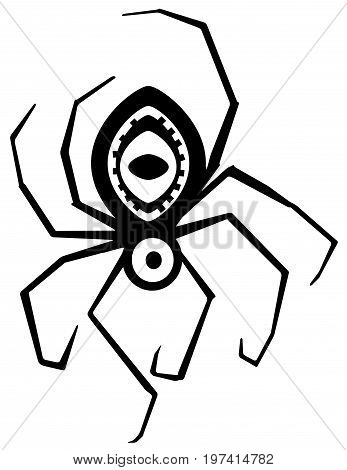Spider mystic eye stylized stencil black, vector illustration, vertical, isolated
