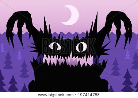 Scare night Halloween monster, vector illustration color cartoon, horizontal