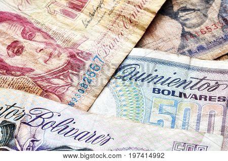 Close Up Picture Of Old Venezuelan Bolivar Banknotes.