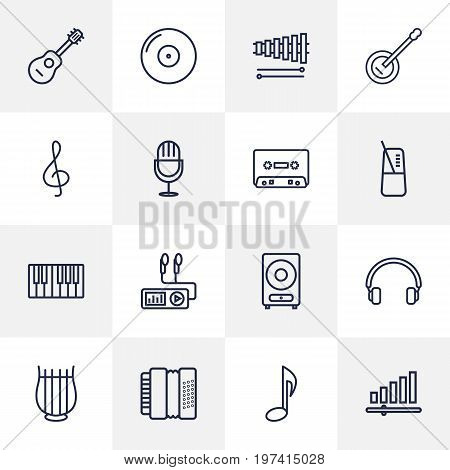 Collection Of Loudspeaker, Turntable, Acoustic And Other Elements.  Set Of 16 Melody Outline Icons Set.