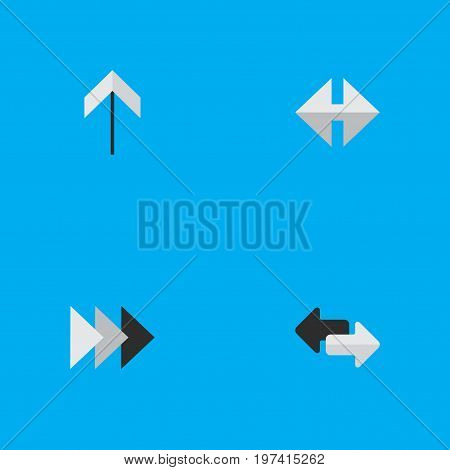 Elements Indicator, Up, Onward And Other Synonyms Onward, Up And Import.  Vector Illustration Set Of Simple Arrows Icons.