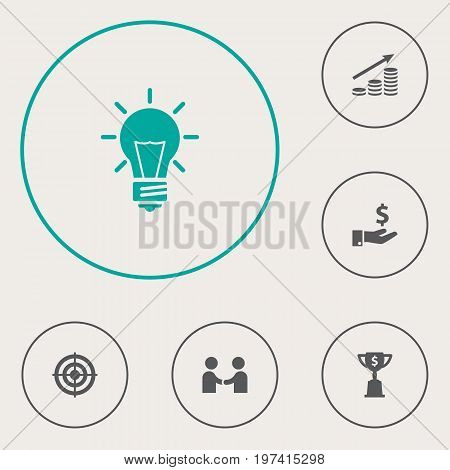 Collection Of Bulb, Sponsor, Meeting And Other Elements.  Set Of 6 Business Icons Set.