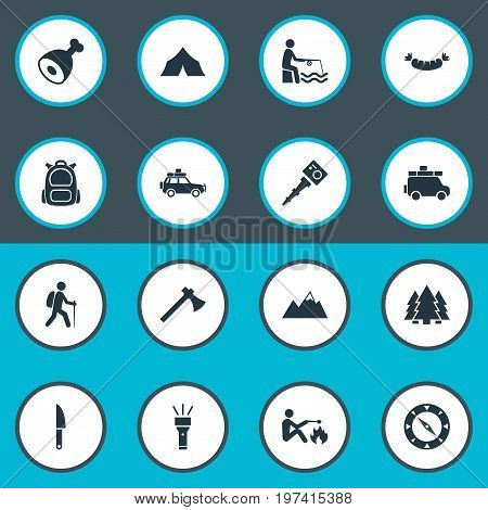 Elements Canvas, Selfie Stick, Ice Rock And Other Synonyms Rucksack, Meat And Monopod.  Vector Illustration Set Of Simple Tourism Icons.