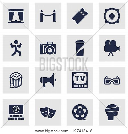 Collection Of Loudspeakers, Beverage, Photography And Other Elements.  Set Of 16 Pleasure Icons Set.