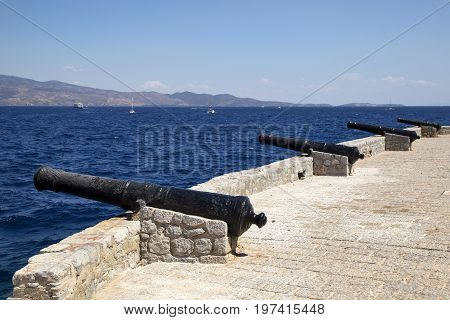 Old Canons Used To Guard Port Of Hydra Island