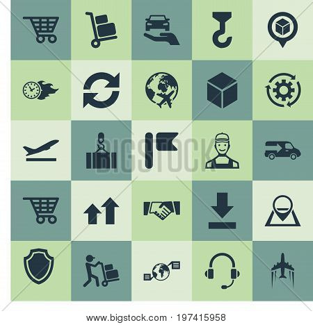 Elements Cycle, Headphone, Position Mark And Other Synonyms Time, Departure And Trolley.  Vector Illustration Set Of Simple Systematization Icons.
