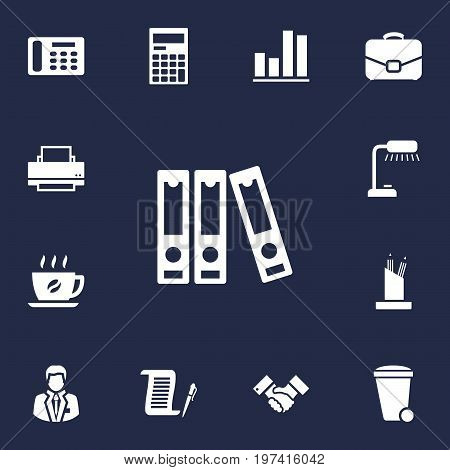 Collection Of Diagram, Calculator, Trash Can And Other Elements.  Set Of 13 Bureau Icons Set.