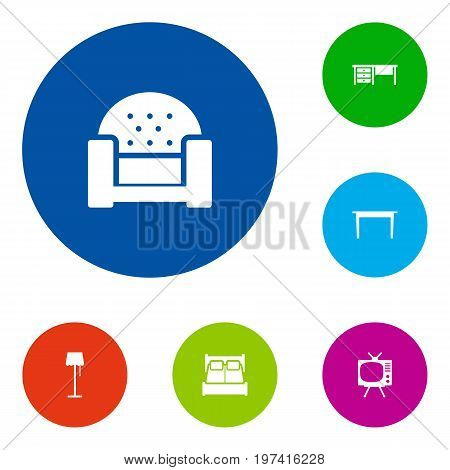Collection Of Desk, Worktop, Television And Other Elements.  Set Of 6 Situation Icons Set.