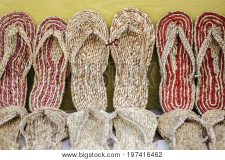 organic slippers made up of jute displayed for sale