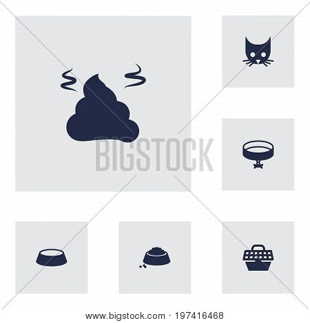 Collection Of Pile , Neckband , Dish Elements.  Set Of 6 Animals Icons Set.