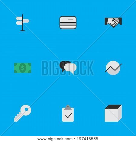 Elements Greenback, Square, Done And Other Synonyms Greenback, Open And Growing.  Vector Illustration Set Of Simple Business Icons.