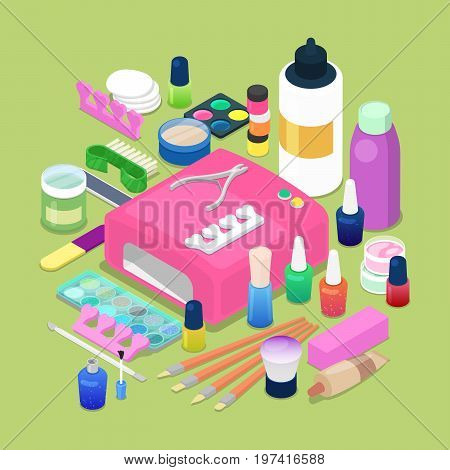 Manicure and Pedicure Isometric Tools. Cosmetics and Accessories. Vector flat 3d illustration