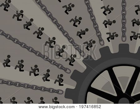 Machine industrial running people figures vector illustration color cartoon horizontal
