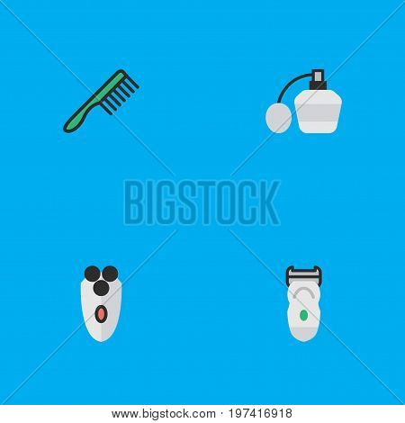 Elements Hairbrush, Perfume, Electronic And Other Synonyms Slavering, Bottle And Fragrance.  Vector Illustration Set Of Simple Hairdresser Icons.