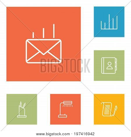 Collection Of Pen Storage, Reading-Lamp, Post And Other Elements.  Set Of 6 Bureau Outline Icons Set.