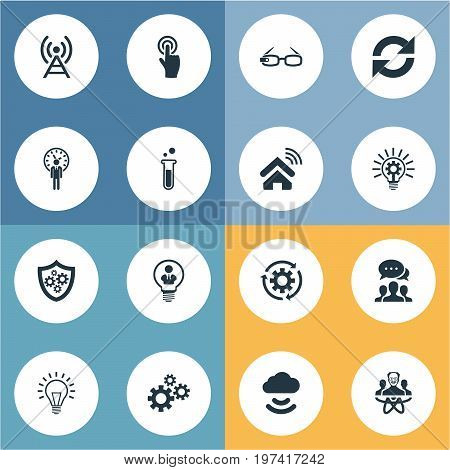 Elements Deadline, Machinery, Connection And Other Synonyms Engineering, Mind And Invention.  Vector Illustration Set Of Simple Creative Icons.