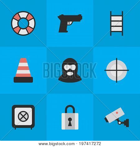 Elements Stairs, Vault, Closed And Other Synonyms Security, Vault And Camera.  Vector Illustration Set Of Simple Offense Icons.