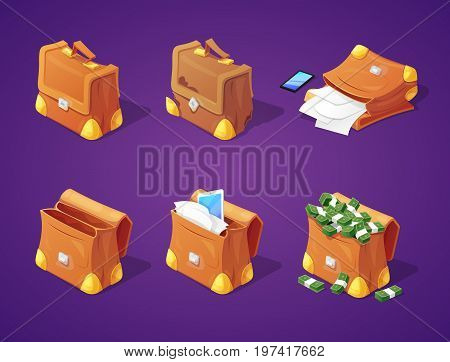 Suitcases with Money, Papers and Devices for Game Interface. Banknotes and Documents Icons. Vector illustration