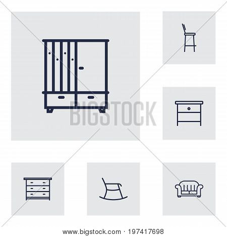 Collection Of Moving Chair, Hall Tree, Armchair And Other Elements.  Set Of 6 Situation Outline Icons Set.