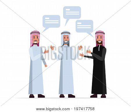 Arab leader people talking and discussion. flat character design. vector illustration