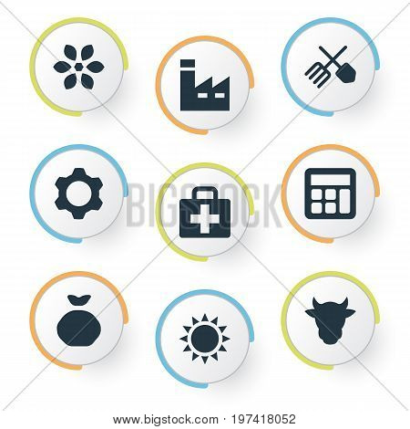 Elements Horticulture Equipment, Medical Kit, Heat And Other Synonyms Sunshine, Summer And Kit.  Vector Illustration Set Of Simple Harvest Icons.