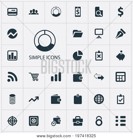 Elements Supervision List, Billfold, Security And Other Synonyms Dollar, Money And Authentication.  Vector Illustration Set Of Simple Investment Icons.