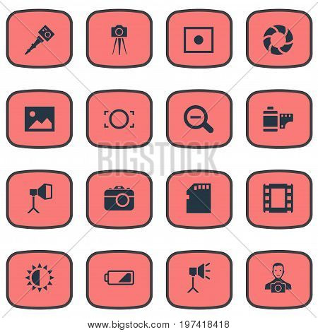 Elements Lens, Brilliance, Rim And Other Synonyms Photographing, Square And Man.  Vector Illustration Set Of Simple Photographic Icons.