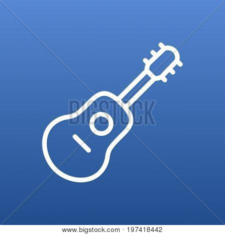 Vector Guitar Element In Trendy Style.  Isolated Acoustic Outline Symbol On Clean Background.