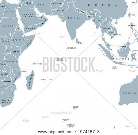 Indian Ocean political map with countries and borders. English labeling. Bounded by Asia, Africa, Australia and Antarctica. Named after the country India. Gray illustration on white background. Vector
