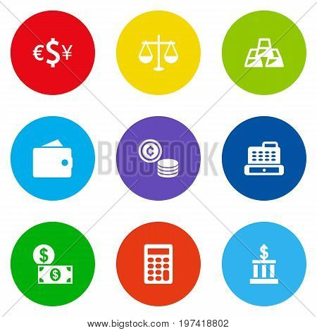 Collection Of Cash, Cashbox, Money And Other Elements.  Set Of 9 Budget Icons Set.