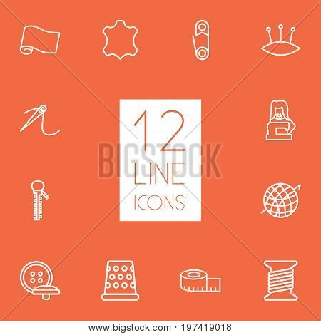 Collection Of Buttons, Tremble, Zipper And Other Elements.  Set Of 12 Stitch Outline Icons Set.
