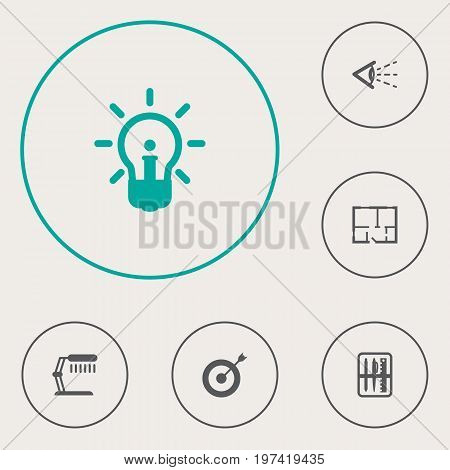 Collection Of Look, Case, Illuminator And Other Elements.  Set Of 6 Constructive Icons Set.