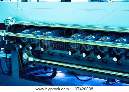 detail of large format roll printing machine