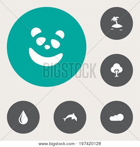 Collection Of Overcast, Isle Beach, Bear And Other Elements.  Set Of 6 Natural Icons Set.