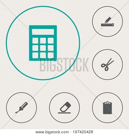 Collection Of Calculate, Clippers, Highlighter And Other Elements.  Set Of 6 Stationery Icons Set.