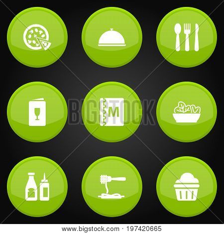 Collection Of Tray, Food, Sweet And Other Elements.  Set Of 9 Bar Icons Set.