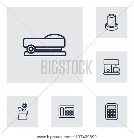 Collection Of Telephone, Staple, Flowerpot And Other Elements.  Set Of 6 Bureau Outline Icons Set.