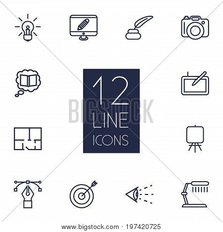 Collection Of Knowledge, Dslr Camera, Inkwell With Pen And Other Elements.  Set Of 12 Creative Outline Icons Set.