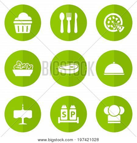 Collection Of Food, Silverware, Condiments And Other Elements.  Set Of 9 Bar Icons Set.