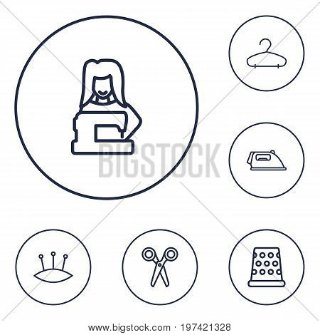 Collection Of Pincushion, Tailor, Tremble And Other Elements.  Set Of 6 Sewing Outline Icons Set.