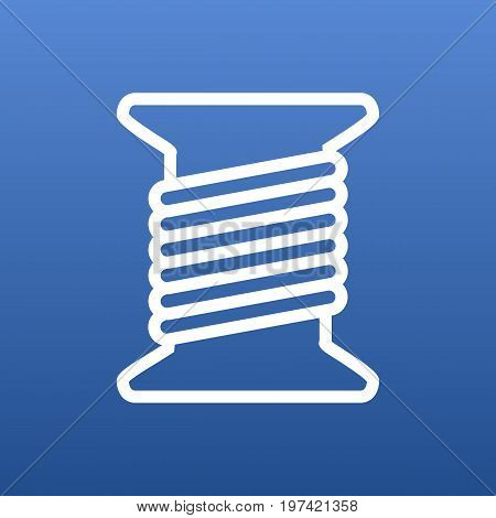 Vector Bobbin Element In Trendy Style.  Isolated Spool Outline Symbol On Clean Background.