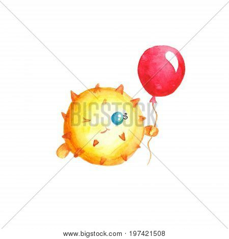 Watercolor porcupinefish with red balloon isolated on white background