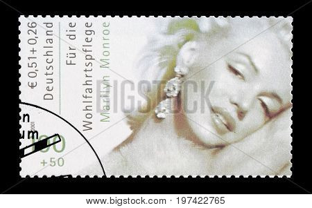 GERMANY - CIRCA 2001 : Cancelled postage stamp printed by Germany, that shows Marilyn Monroe.