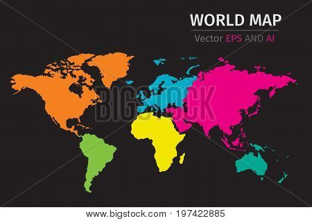 Vector Political World map using different colors on each continent.