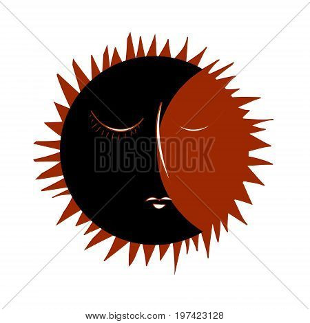 Vintage Eclipse hand drawn with rays. Vector illustration of the icon of the heavenly bodies