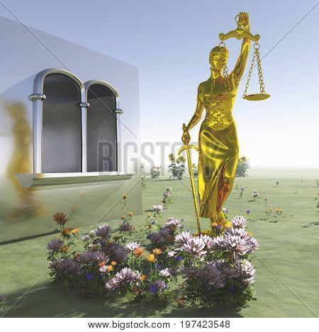 Lady of Justice statue in front courthouse 3d rendering