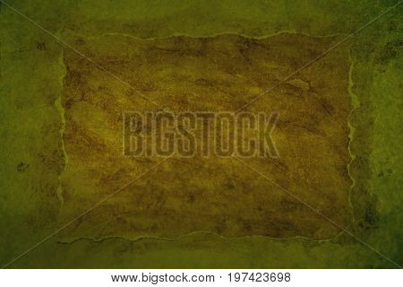Greenish grungy background with brown middler and paper border
