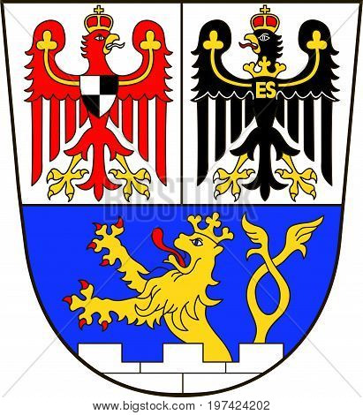 Coat of arms of Erlangen is a Middle Franconian city in Bavaria Germany. Vector illustration from the
