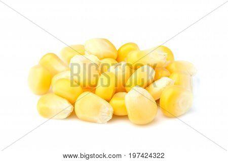 Ripe corn isolated close-up on white background.