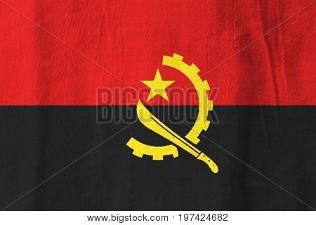 Angola Fabric Flag  National Flag From Fabric For Graphic Design.